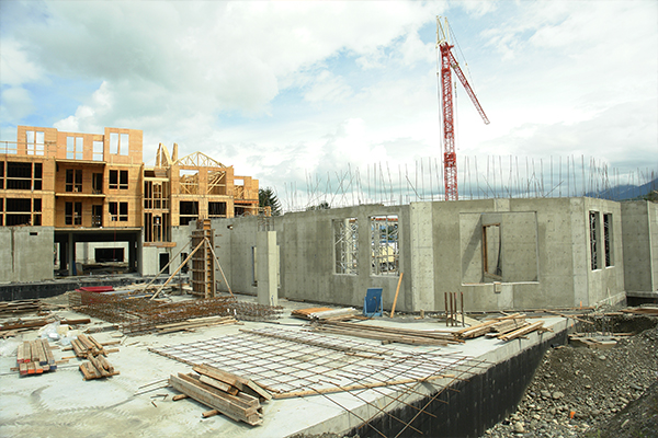 An image of a commercial building that's being built