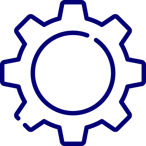 An icon depicting a cog